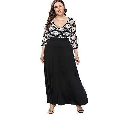 9afff2b36d ESPRLIA Women's Empire Waist Plus Size Maxi Cocktail Dress