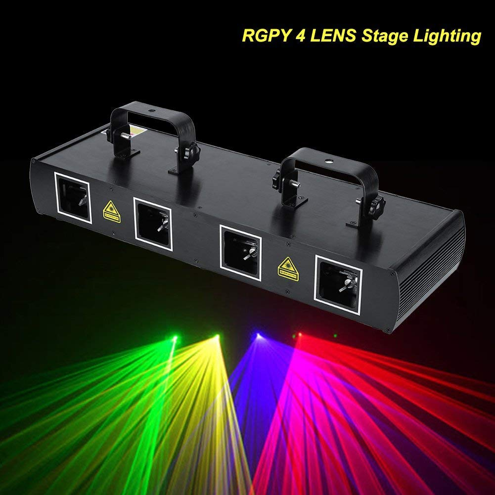 4Lens 30W Stage Light with 100 Multi-Patterns 7CH DMX512 Sound Actived Disco DJ Party LED Effect Lights US Plug 110V for Christmas Wedding by Yosoo