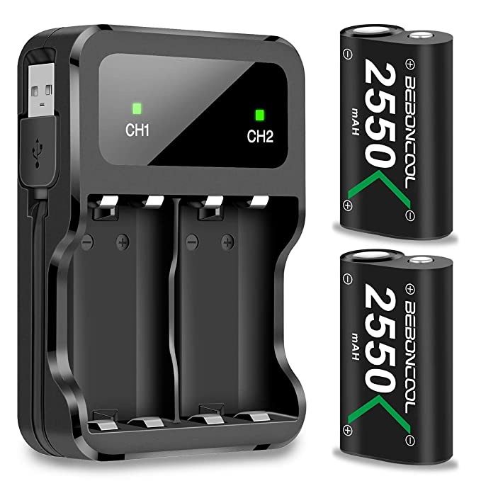 2 Pack 2500 mAh High Capacity Rechargeable Battery for Xbox One//Xbox One X//Xbox One S//Elite Wireless Controllers Xbox One Controller Battery Pack