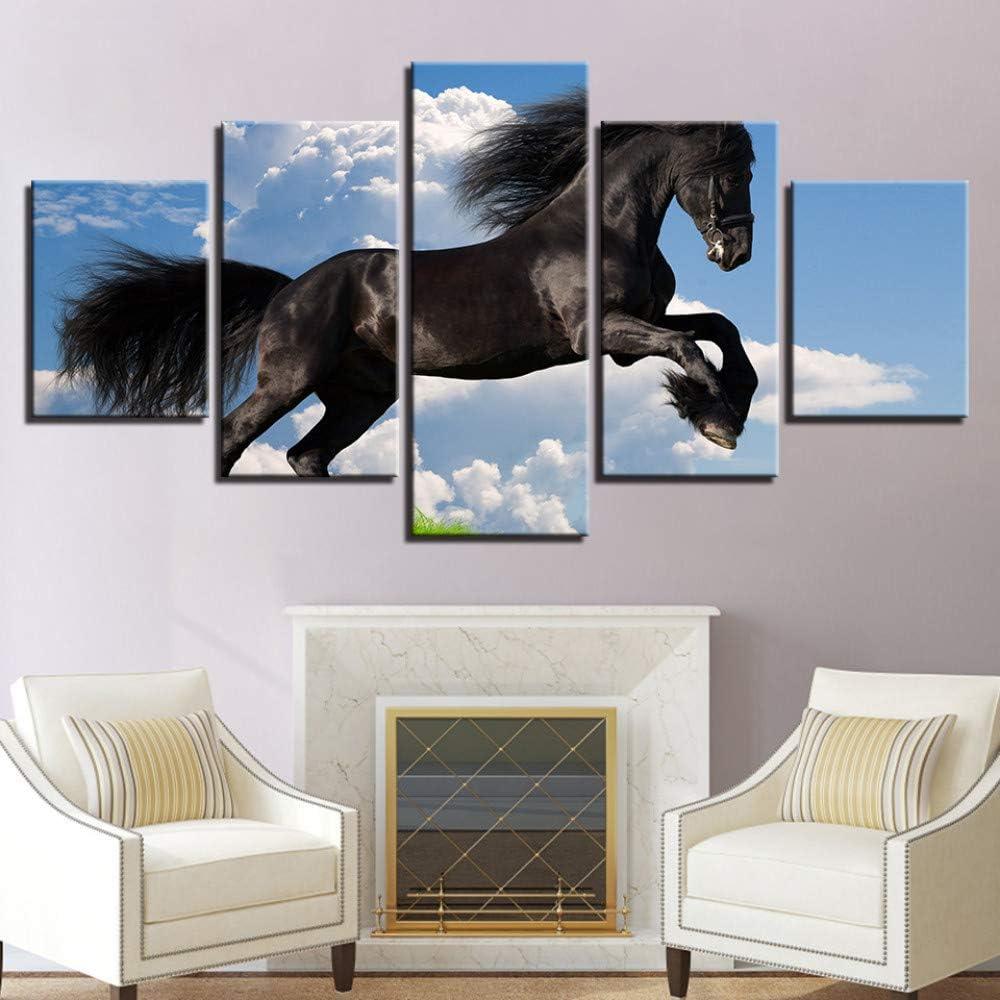 Arte de la pared Lienzo Pinturas Modular Sala de estar Decoración para el hogar 5 Unidades Azul Cielo Corriendo Caballos Negros Cuadros de Animales, 40X100