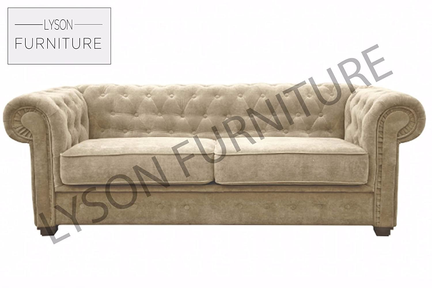 Imperial Sofa Bed Chesterfield Fabric 3 Seater Cream  ~ Cream Leather Chesterfield Sofa