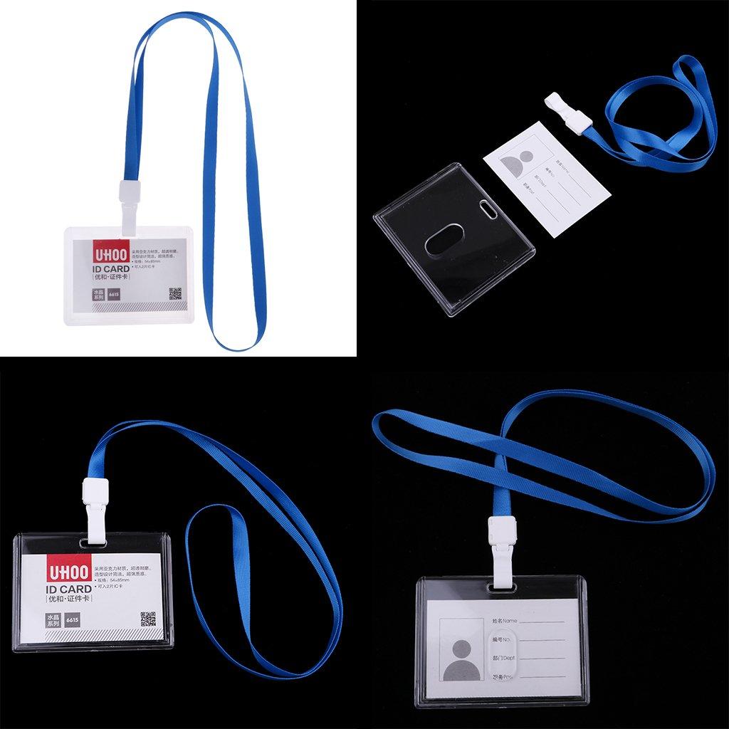 D DOLITY Custodia Per Manichette Protector ID Badge Porta Tessere Identificativo Aziendale Orizzontale//Verticale Blue Horizontal with Lanyard