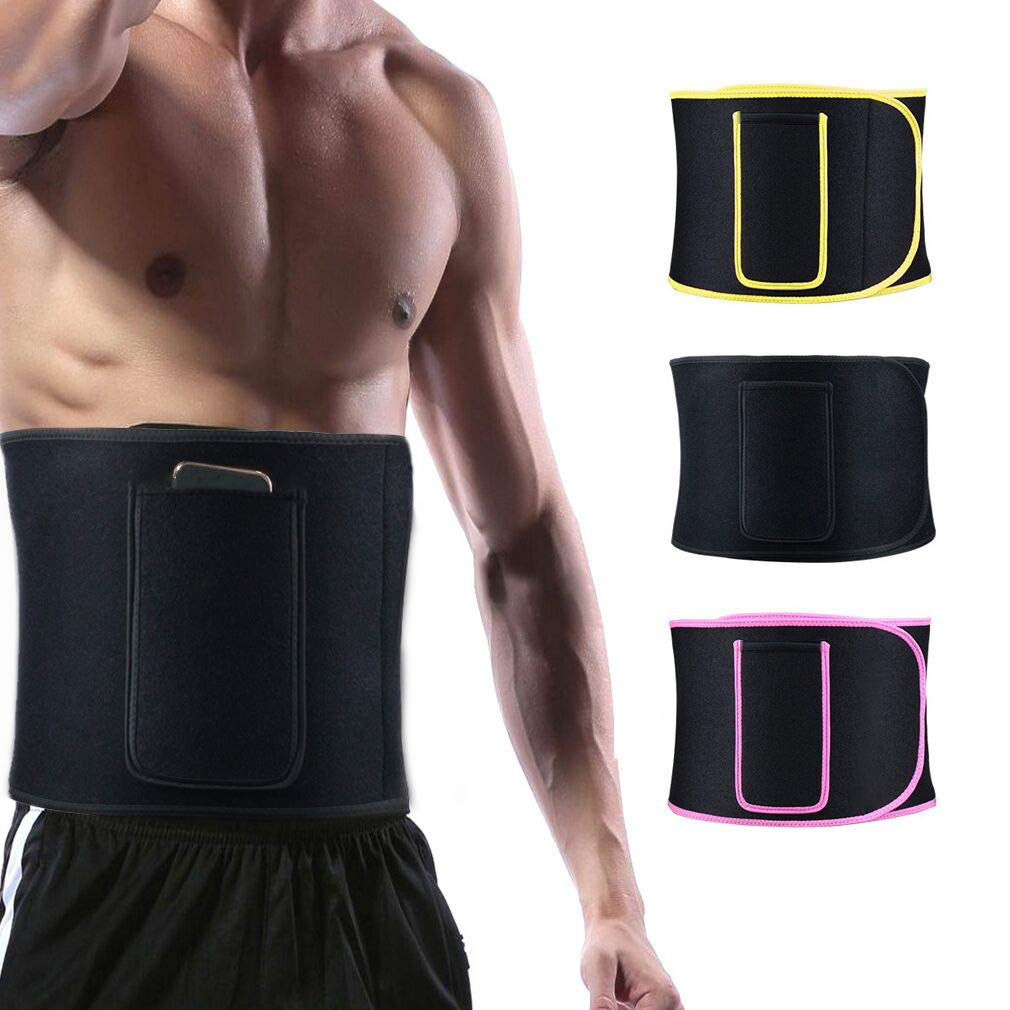 Bei Cheng Waist Trimmer for Women and Men -Sauna Belt, Lumbar Support Belt Comfortable Phone Pocket-Breathable Adjustable Wrap Sweat Wrap and Waist Trainer Stomach and Back Lumbar Support