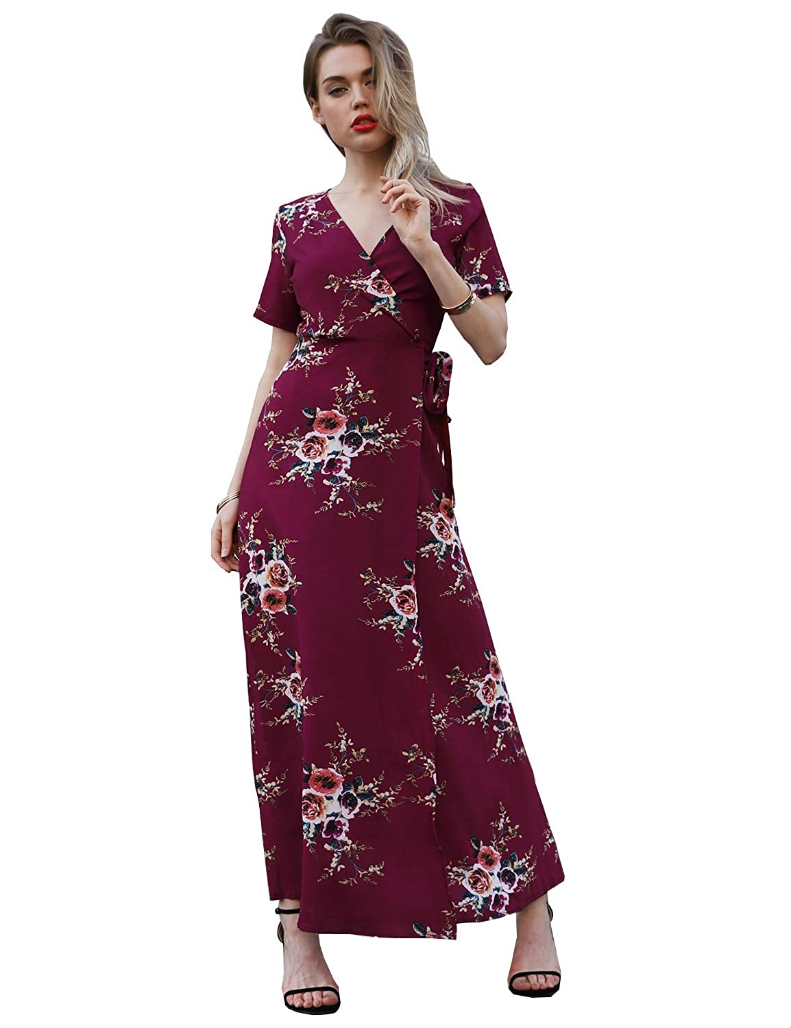 d234658785f6 Blooming Jelly Casual Short Sleeve V Neck Floral Tie Waist Wrap Long Maxi  Dress with Belt at Amazon Women's Clothing store: