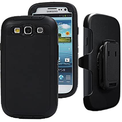 Auker S3 Clip Case,Galaxy S3 Case, Defender Series Shockproof Water Impact Resistant Anti-Slip Tough Rubber Rugged Holster Case with Belt Swivel ...