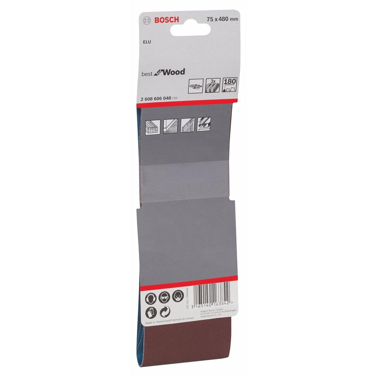 Bosch 2608606048 75 X 480 Belt 180G Red 75 mm x 480 mm 3PK
