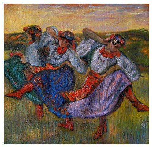 Russian Dancers - Edgar Degas hand-painted oil painting reproduction, Celebrating Dance Festival,elaborate folk costumes of Ukrainian peasant dancers art (24.8 x 25.5 (Russian National Dance Costumes)