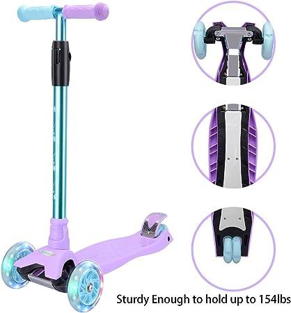 WV WONDER VIEW WonderView Kick Scooter Kids 3 Wheel Scooter, 4 Height Adjustable Pu Wheels Extra Wide Deck Best Gifts Kids, Boys Girls, Purple