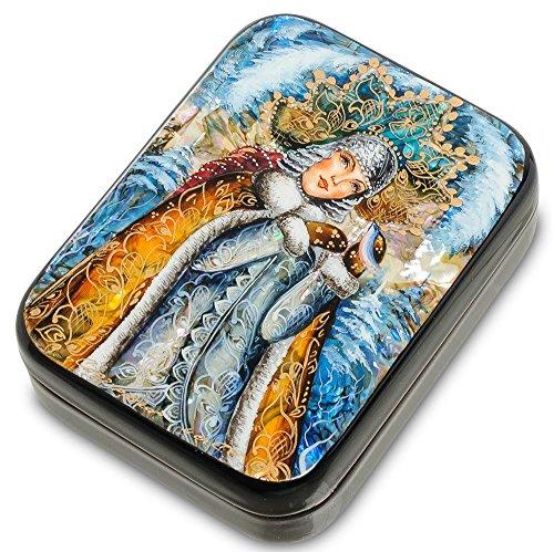 Russian Lacquer Box Fedoskino | Russian Lacquer Miniatures | Decorative Box | Lacquer Box for Storage | Gift Box for Women | Snegurochka | Assorted design. (4)