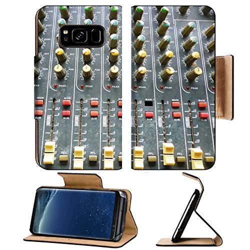 Liili Premium Samsung Galaxy S8 Flip Pu Leather Wallet Case IMAGE ID 32446216 Side closeup on a sliders of a mixing console It is used for audio signals modifications to achie -  Liili Products, RGAFAKafxA_SIDE CLOSEUP ON A SL_354