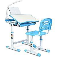 HONEY JOY Kids Desk and Chair Set, Height Adjustable Table with Tilting Desktop, LED Light, Book Stand, Storage Drawer and Metal Hook, Multifunctional School Study Workstation for Children (Blue)