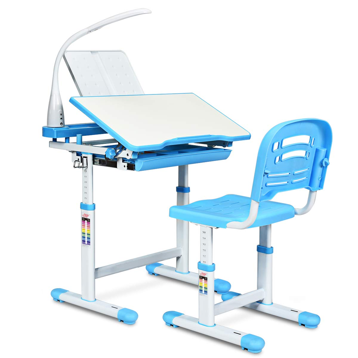 HONEY JOY Kids Desk and Chair Set, Height Adjustable Table with Tilting Desktop, LED Light, Book Stand, Storage Drawer and Metal Hook, Multifunctional School Study Workstation for Children (Blue) by HONEY JOY
