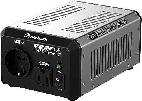 KRIEGER 150W Transformador 220v a 110v, 150 Vatios de Potencia Máxima, Convierte Voltaje de 220-240 Voltios a 110-120V y viceversa, Transformador con Núcleo Toroidal Aprobado por MET bajo UL y CSA: Amazon.es: