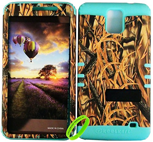 Cellphone Trendz HARD & SOFT RUBBER HYBRID ROCKER HIGH IMPACT PROTECTIVE CASE COVER for Samsung Galaxy Mega 2 II / SM-G750F - Camo Real Hunter Series Shredder Grass Straw Design Hard Case on Mint Brown Green Silicone