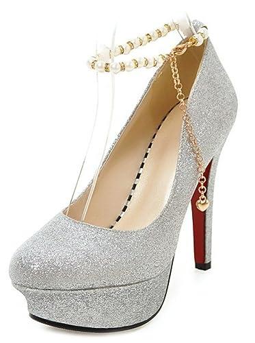 de Escarpins Femme Haut Easemax Talon Mariage Chaussure Brillant q67wHpS