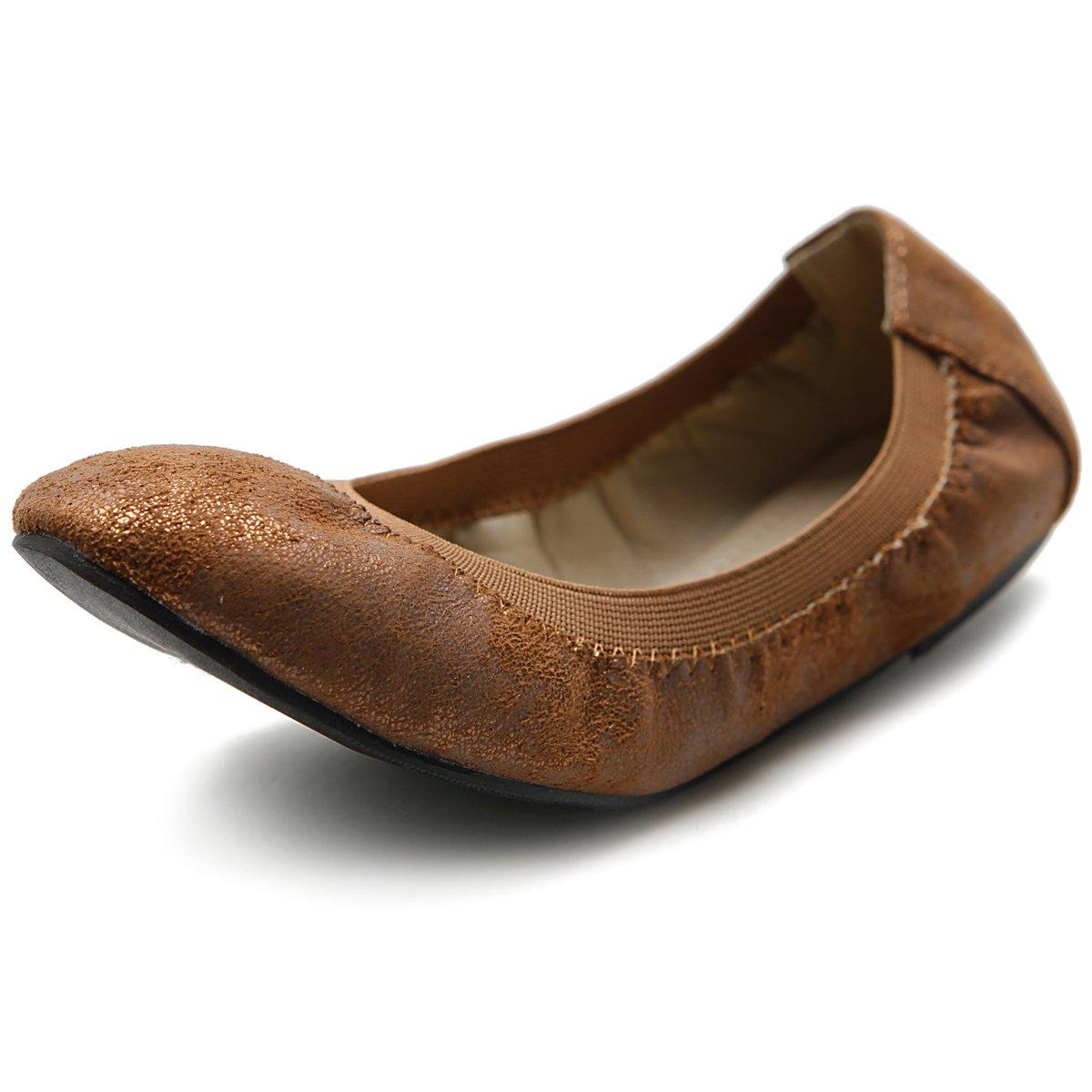 Ollio Women's Shoe Comfort Multi Color Cute Ballet Flats B00LT42KL8 5.5 B(M) US|Brown