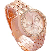 BID Diamond Studded Rose Gold Analog Watch - for Girls