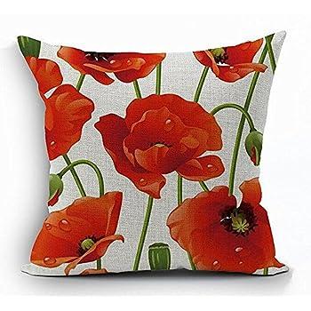 Amazon Red Poppy Flowers Throw Pillow Throw Pillow Case Home Extraordinary Poppy Decorative Pillows