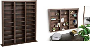 Espresso Triple Width Barrister Tower & Triple Wall Mounted Storage Cabinet, Espresso