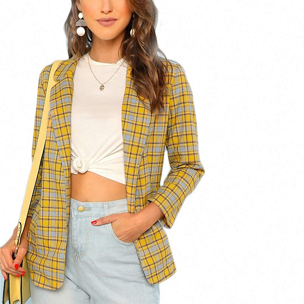 Office Lady Notch Collar Pocket Front Plaid Longline Blazer Women Workwear Lana&Kalf