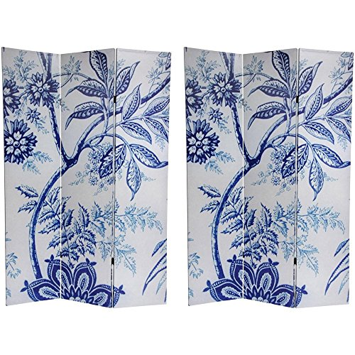 Oriental Furniture 6 ft. Tall Floral Double Sided Room (Blue Toile Canvas)