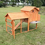 Pawhut 82'' Wooden Backyard Chicken Coop Hen House with Outdoor Run and Nesting Box