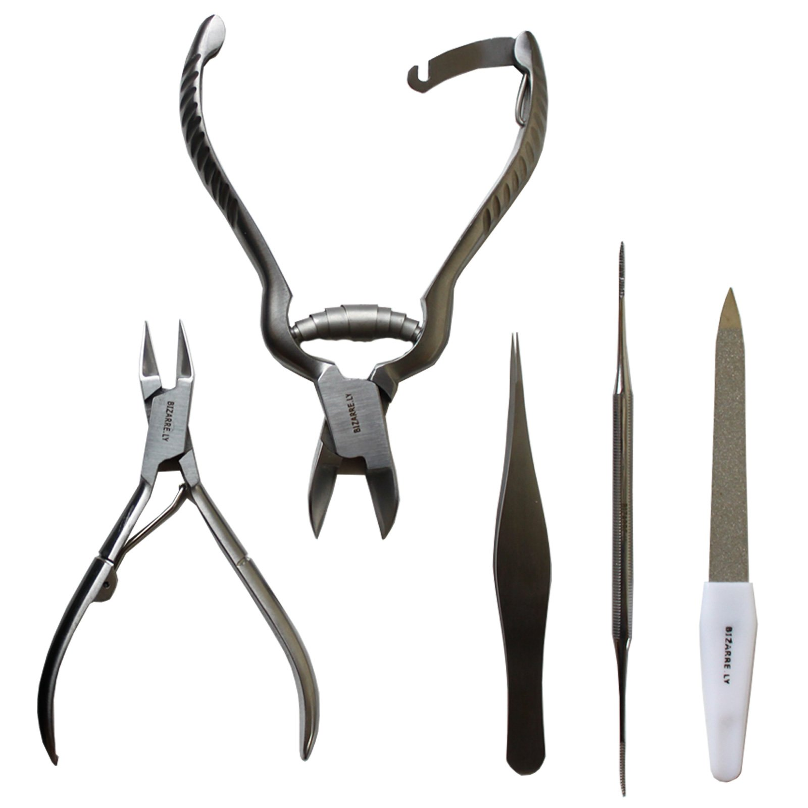MASSIVE BIZARRE.LY Professional 5 Piece Ingrown TOENAIL KIT - Pedicure Tools to EASILY FIX and PREVENT Sore, Painful Nails - FILE, LIFTER, 2X CLIPPERS, PRECISION TWEEZERS - With PORTABLE LEATHER POUCH by Bizarre.ly (Image #3)