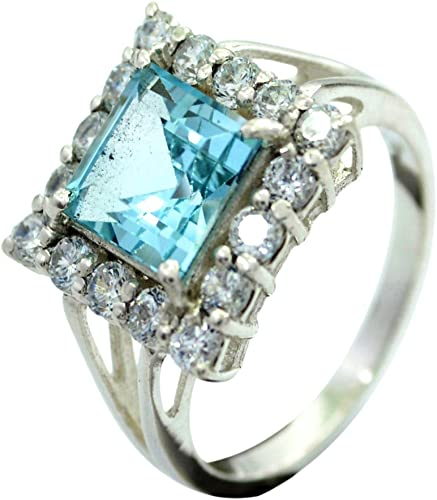 55Carat Blue Cubic Zircon 925 Sterling Silver Ring Handmade Round Prong Shape Size 5,6,7,8,9,10,11,12