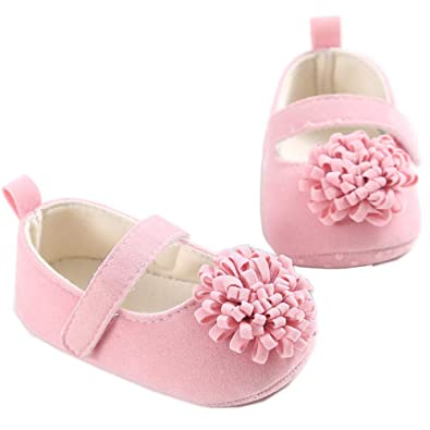 Baby Girls Mary Jane Princess Shoes Colorful Flower First Walker Soft Ati-Slip Sole Cotton Cloth for Toddler Infant