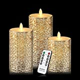 Flameless Candles 3 Pack Set Drip-less Real Wax Glass Effect Include Realistic Flickering Flames and 10-key Remote Control with 24-hour Timer Function 400+ Hours By 2 AA Batteries (Mixed-Gold)
