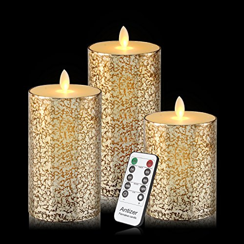 Flameless Candles 3 Pack Set Drip-less Real Wax Glass Effect Include Realistic Flickering Flames and 10-key Remote Control with 24-hour Timer Function 400+ Hours By 2 AA Batteries (Mixed-Gold) by Antizer