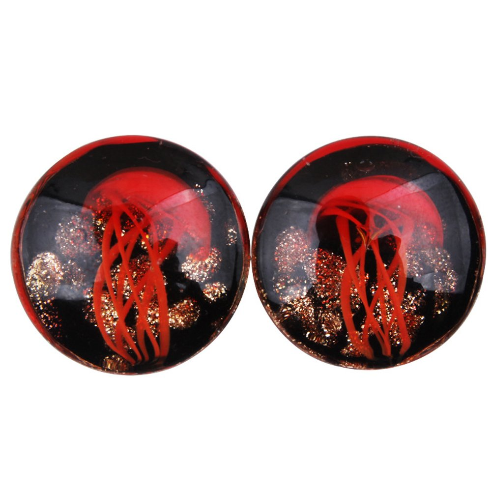 HQLA 1 Pair Glass Ocean Jellyfish Ear Gauges Plugs Expander Tunnels Body Piercing,0g-5/8 (8mm-16mm) 00g(10mm)) WEIHUAI