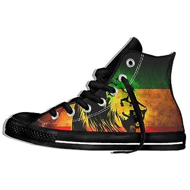 18269d080 Amazon.com  REGGAE RASTA LION High Top Classic Casual Canvas Fashion Shoes  Sneakers For Women   Men  Clothing