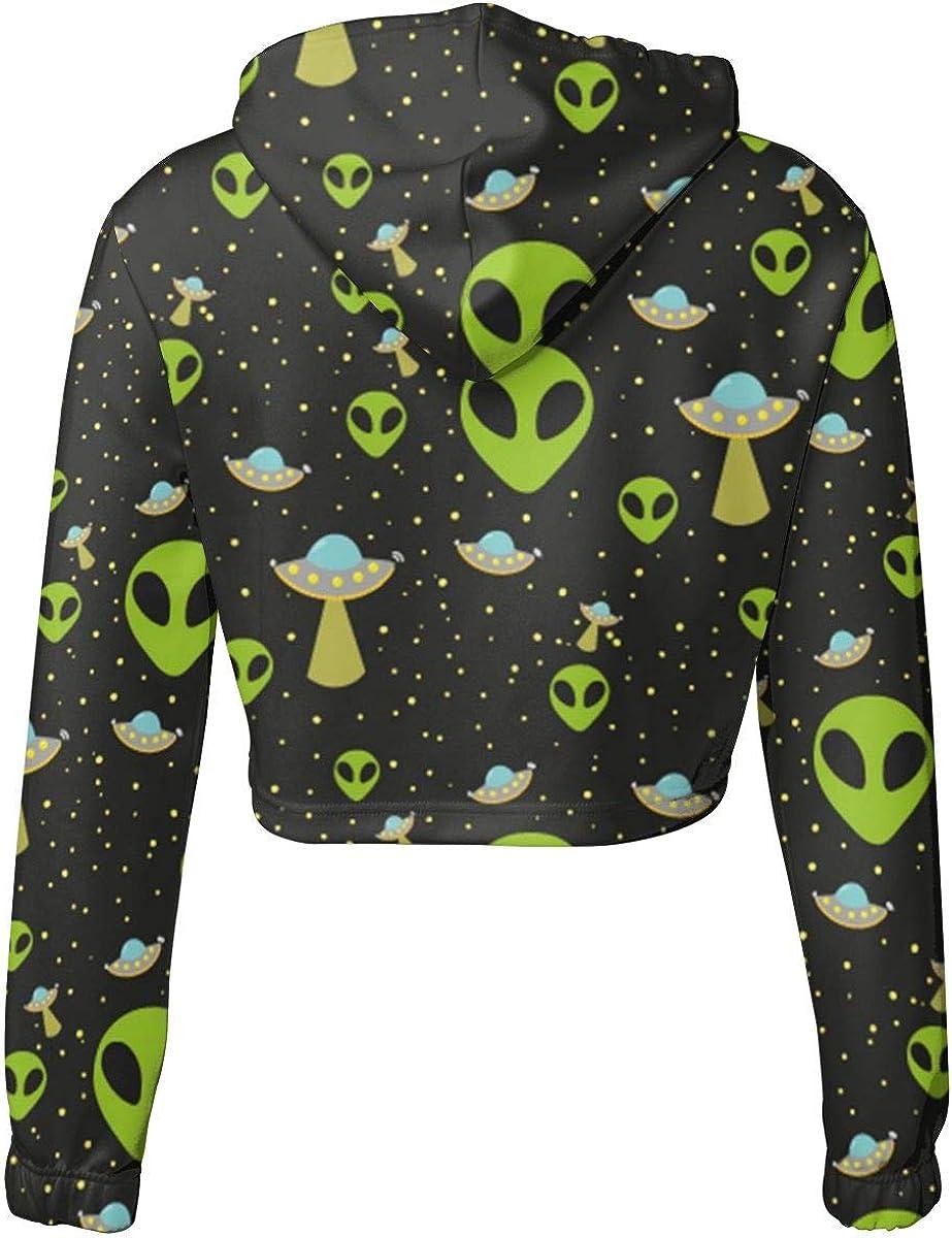Kangxing Network Alien Pattern Womens Getaway Cropped Hoodie Sweatshirt