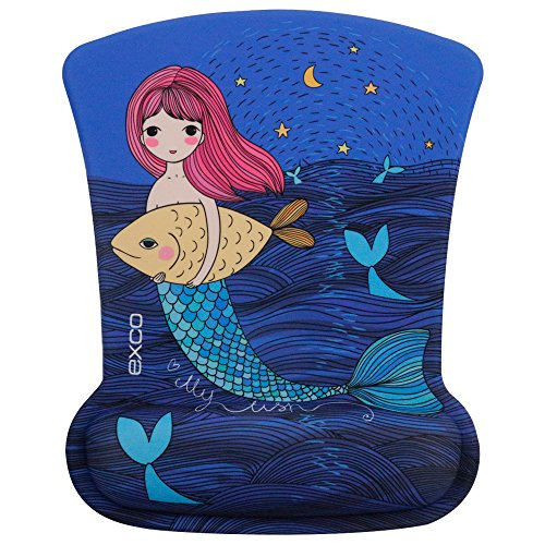 Elegant Mermaid-EXCO Elegant Design Ergonomic Mouse Pad with Gel Wrist Rest Support , Fit for PC and Laptop (Cute Gifts For Boyfriend Just Because)