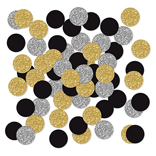 Andaz Press Large Confetti Party Table Decor, 1.5-inch Double-Sided, Faux Gold Glitter, Faux Silver Glitter, Black, 180-Pack, New Years Eve Theme Colored Supplies 2018 2019 2020 2021 2022 -