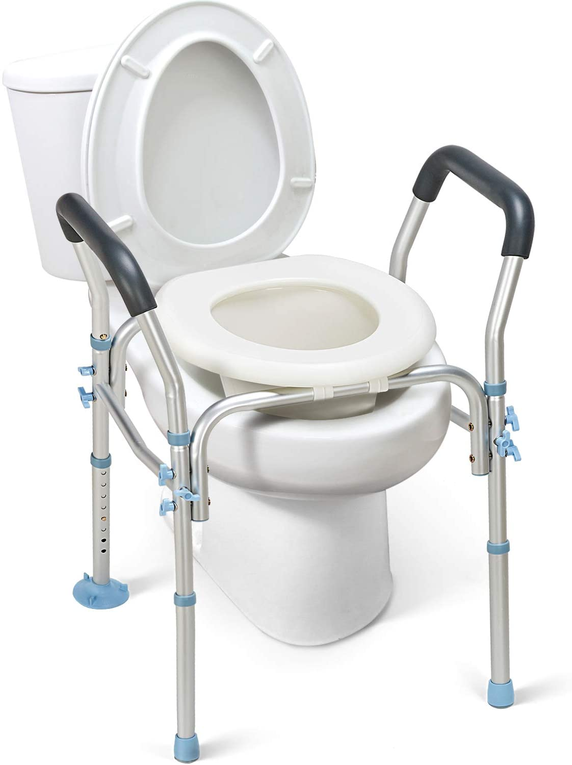 Amazon Com Oasisspace Stand Alone Raised Toilet Seat 300lbs Heavy Duty Medical Raised Homecare Commode And Safety Frame Height Adjustable Legs Bathroom Assist Frame For Elderly Handicap Disabled Health Personal Care