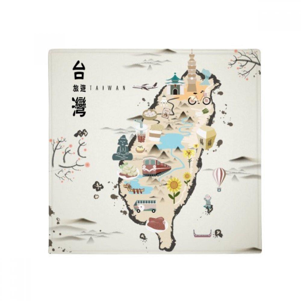 DIYthinker Map Taiwan Travel Features Anti-Slip Floor Pet Mat Square Home Kitchen Door 80Cm Gift