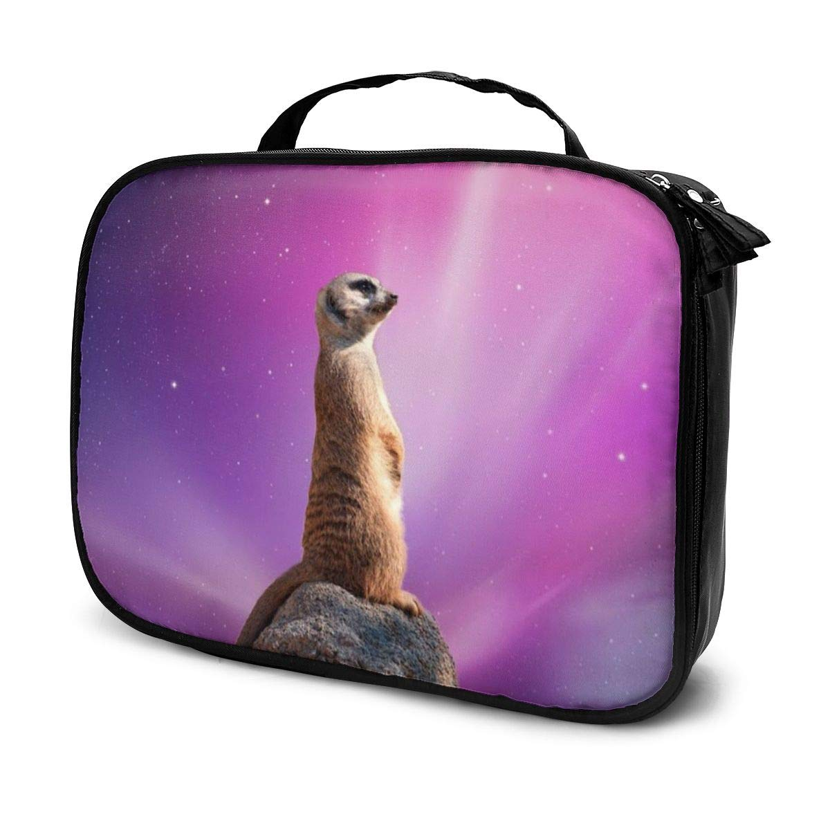 Meerkat Space (2) Canvas Makeup Bag Pouch Purse Handbag Organizer with Zipper