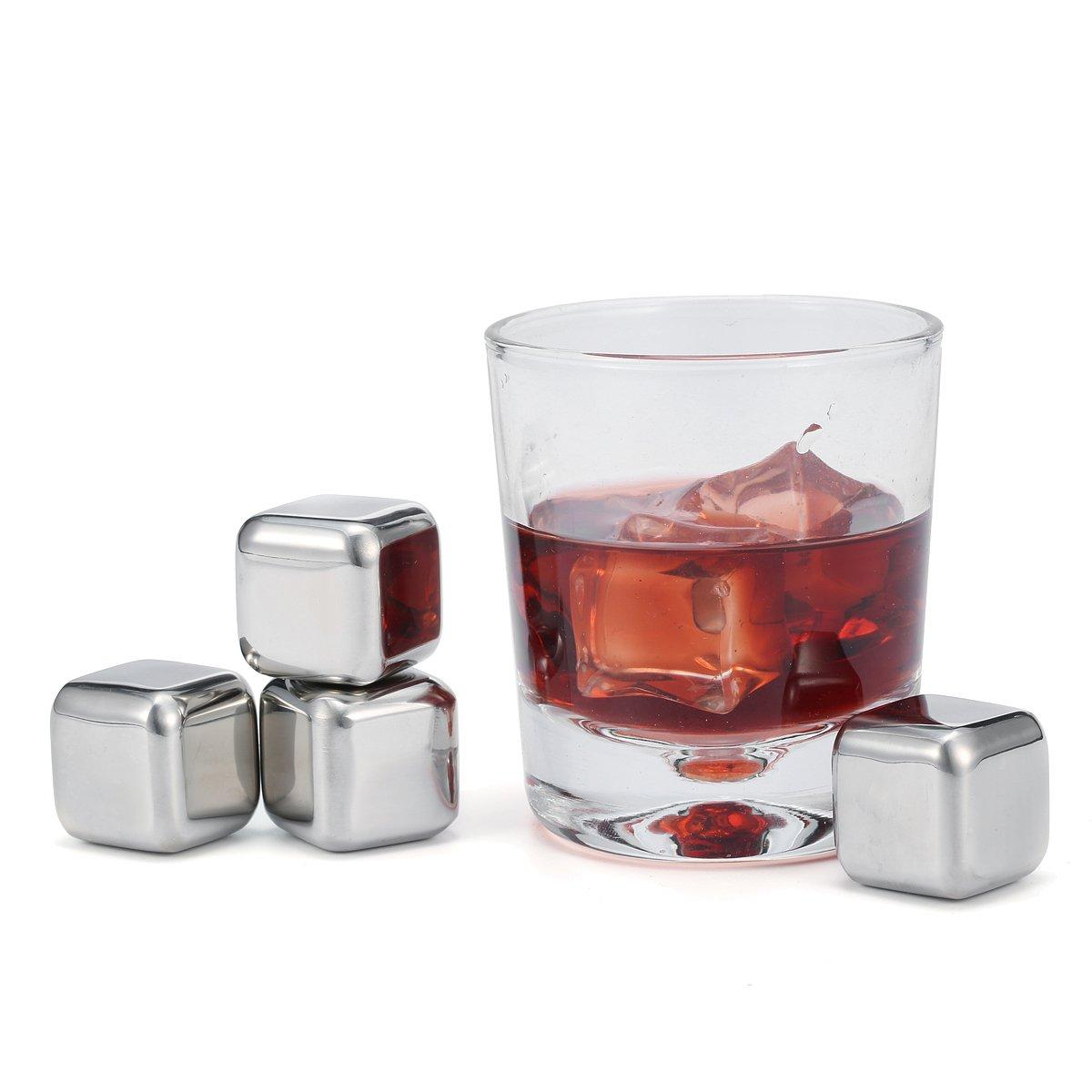 Skymore Whisky Glaç ons en Acier Inoxydable, Chilling Glaç on Ré utilisable, Pierre Froid, Ice Cube pour Vin Boisson Biè re Livré , 2 Mode Optionnelle---4 Pcs Pas Pince et 8 Pcs Avec Pince 4 Pcs Pas Pince Wispury
