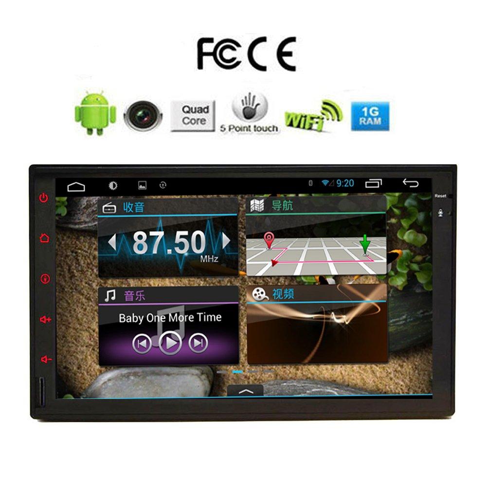"""7 """"Android Tablet tactile st¨¦r¨¦o voiture ¨¦cran Quad Core 1024 * 600 Double Din dans Dash commande / de volant de voiture GPS Radio Navigation R¨¦cepteur Audio Head Unit¨"""