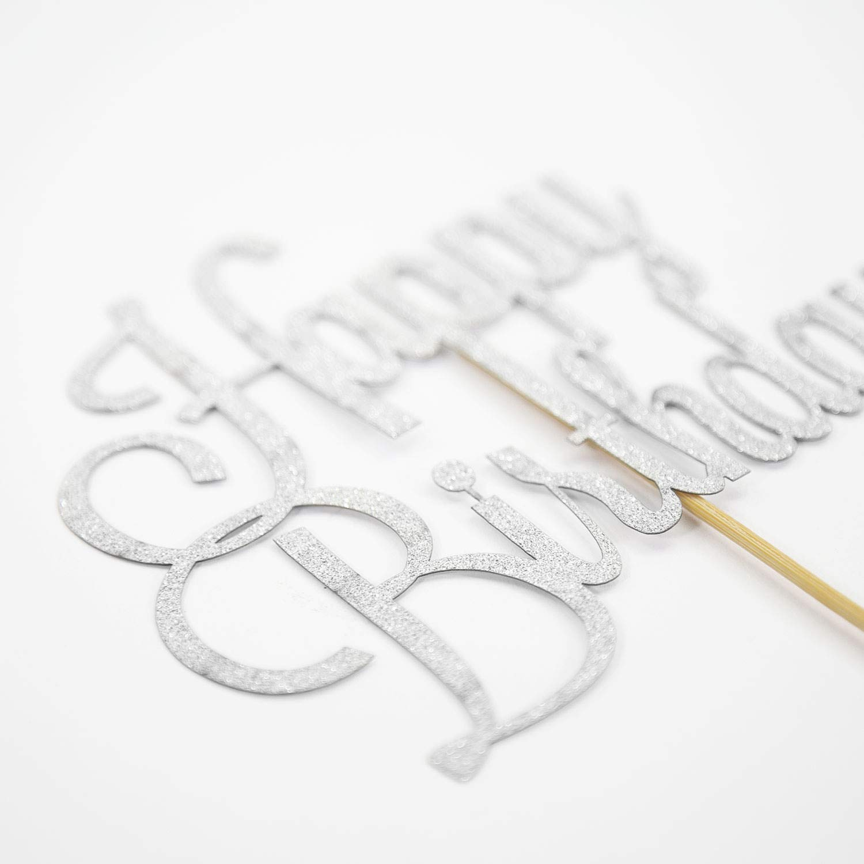Oblique Unique/® Torten Kuchen Topper Aufsatz Happy Birthday Geburtstag Deko Silber mit Glitzereffekt Muffin Cupcake Dekoration