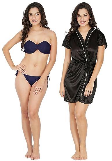Klamotten Satin Women Nightwear and Bikini Set Combo  (221N-211K Multicolor Free Size)  Amazon.in  Clothing   Accessories 43de729891