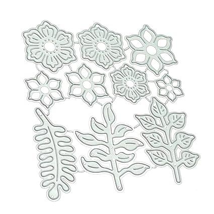 Luwu-Store Hojas de Flores Plantillas de Troqueles de Corte de Metal para DIY Scrapbooking