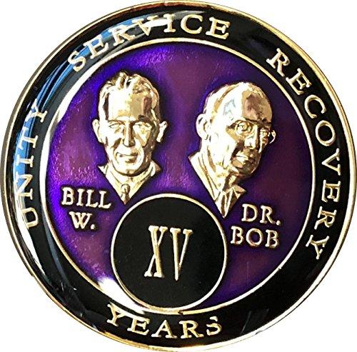 15 year AA Medallion Purple Tri-Plate Founders Bill & Bob Chip XV ()