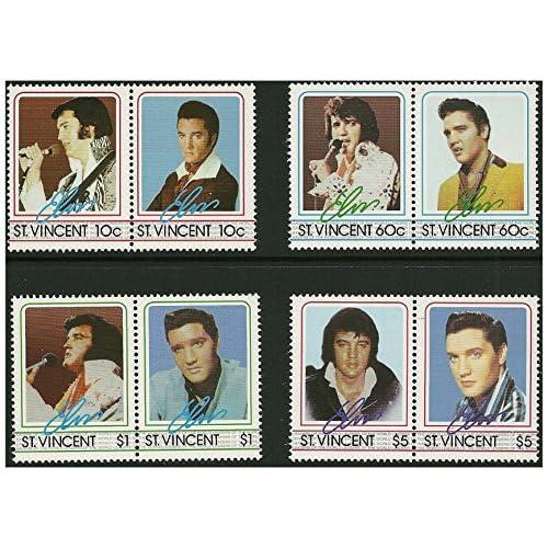 Elvis Presley timbre paires - 8 timbres à 4 paires émises en 1985 St Vincent / Mint et démonté