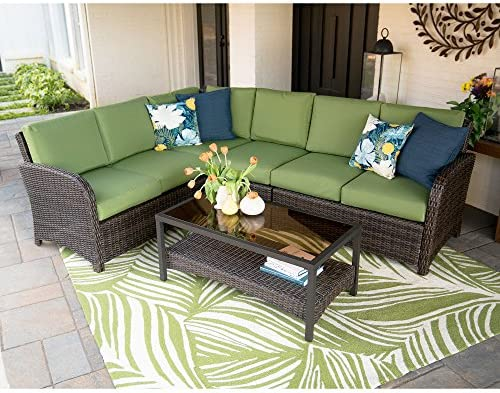 Leisure Made 779665-GRN Jackson Outdoor Corner Sectio l Seating Chair, Green