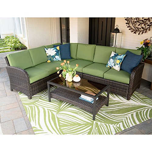 5pc Jackson All-Weather Wicker Corner Sectional Green - Leisure Made