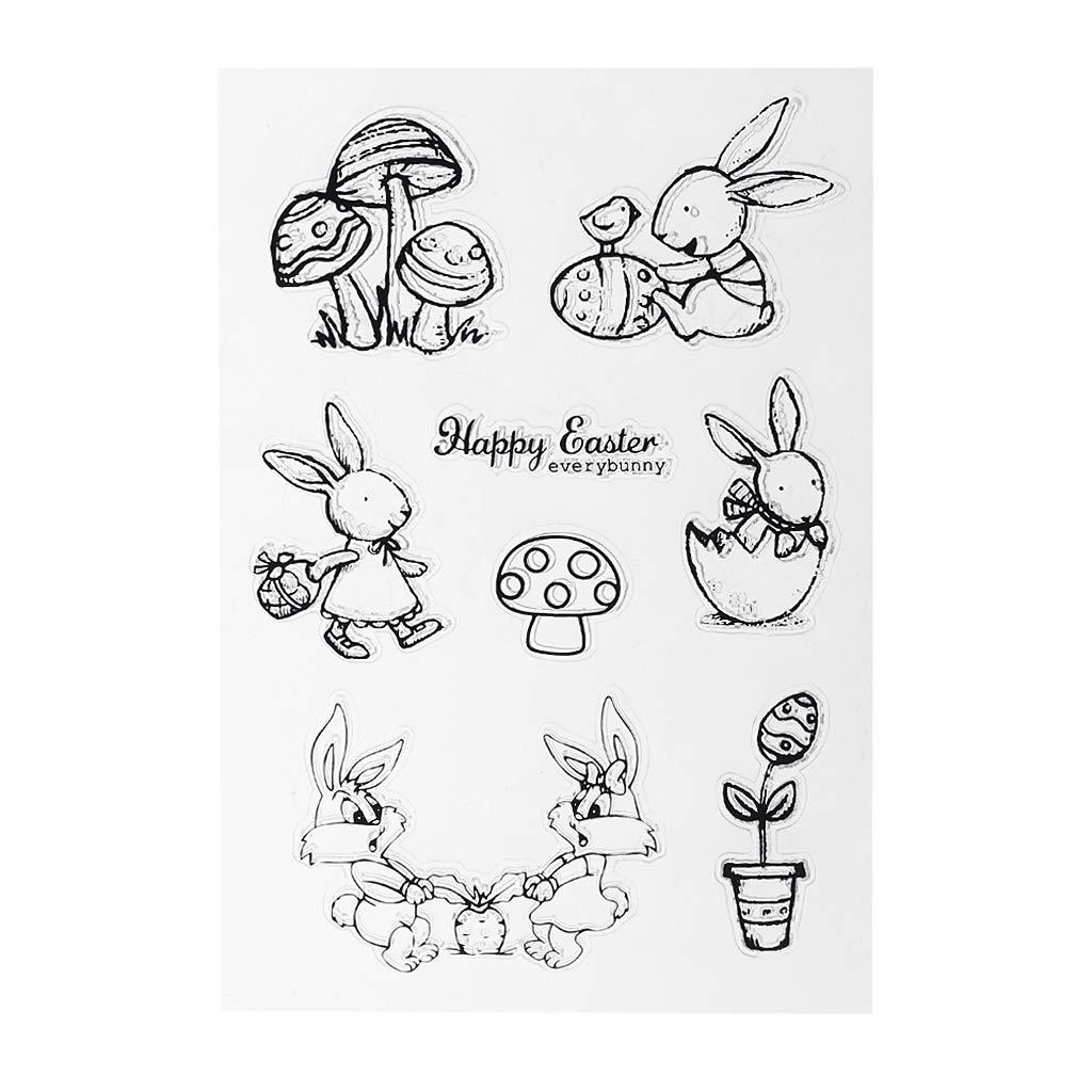 Fafalloagrron Oster-Stempel aus weichem PVC, Motiv: Kaninchen, niedliche Muster, DIY Scrapbook-Fotoalbum Dekoration