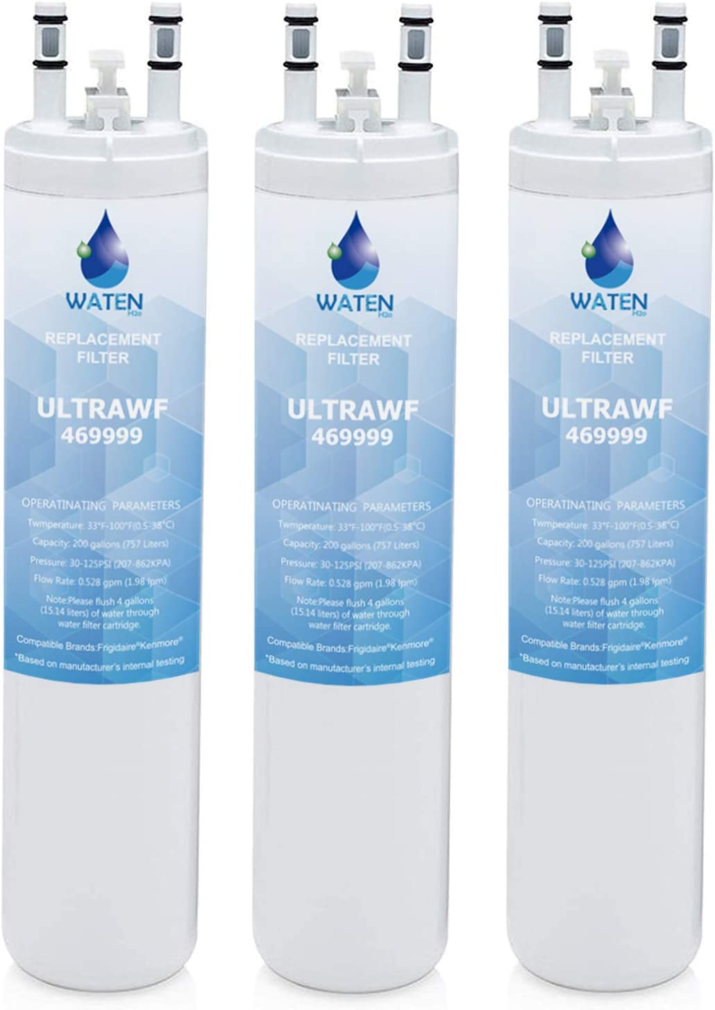 WATEN H2O ULТRAWF Compatible Refrigerator Water Filter Replacement Pure Source Ultra/9999 White -(3-Pack